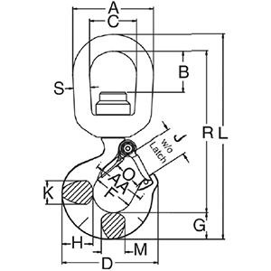 Swivel Hook with Latch measurements