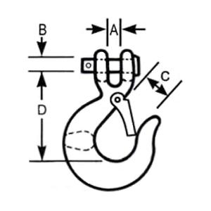 Clevis Slip Sling Hook measurements