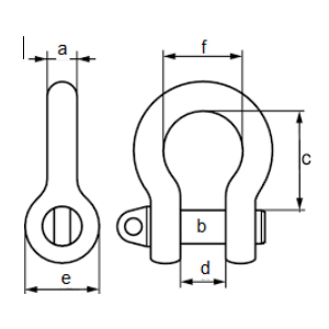 Shackle Bolt Type Safety Anchor measurements